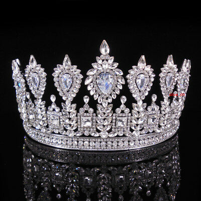 2 Colors Luxury Drip CZ Crystal Tiara Crown Wedding Bridal Party Pageant Prom