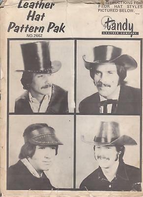 Leather Hat Pattern Pak How to Make Top Hat, Cowboy, Visor Tandy #2662