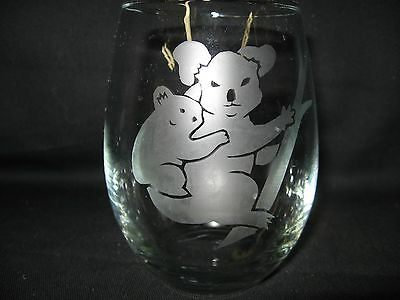 New Etched Koala Stemless Wine Glass Tumbler