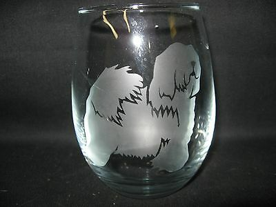 New Etched Sheepdog Stemless Wine Glass Tumbler