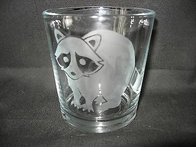 New Etched Raccoon Old-Fashioned Rocks Glass Tumbler