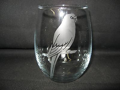 New Etched Parakeet Stemless Wine Glass Tumbler