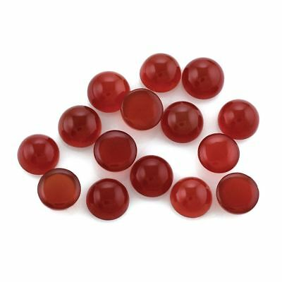 5 PIECES OF 6mm ROUND CABOCHON-CUT NATURAL AFRICAN DEEP RED/ORANGE ONYX GEMS