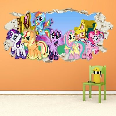 My Little Pony Smashed Wall Crack Kids Boy Girls Decal Art Sticker Gift New v2