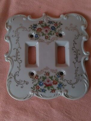 Vintage Shabby Chic Porcelain Double Light Switchcover White w/ Roses JAPAN