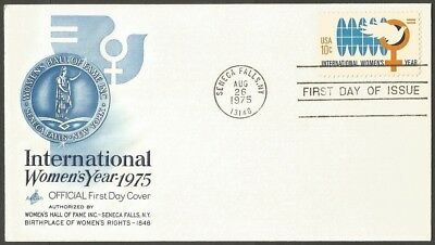 Us Fdc 1975 International Women's Year 10C Stamp First Day Cover + Insert