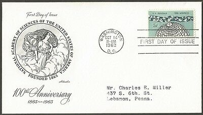 Us Fdc 1963 The Sciences 5C Stamp Artmaster First Day Of Issue Cover