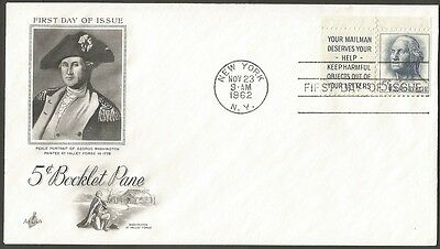Us Fdc 1962 Washington 5C Booklet Pane Art Craft First Day Of Issue Cover Ny