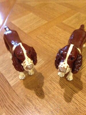 Pair Cold Painted Spelter Spaniels