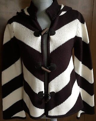 Alice +Olivia Sweater Toggle Brown White Chevron Wool Hood Size Small