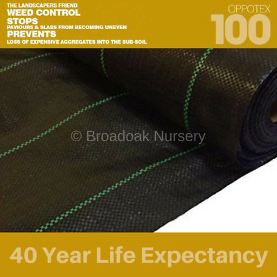 Oppotex 100 Woven Ground Cover - Heavy Duty Weed Control Fabric, Various Sizes