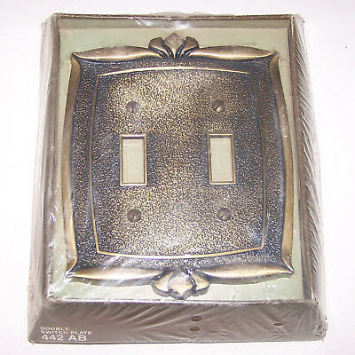 Vintage 1970's Donner Brass Double Switch Plate Cover 442 AB New in Box NIB