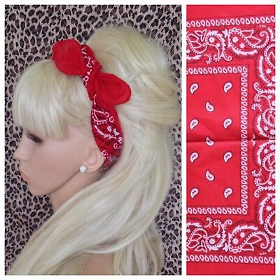 NEW RED COTTON PAISLEY BANDANA HEAD HAIR NECK SCARF ROCKABILLY PIN UP URBAN 50s