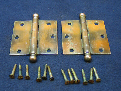 "Pair Antique Victorian 3"" Copper Flash Ball Finial Tip Door Hinges - STANLEY"