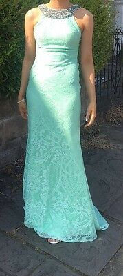 Pia Michi Womens Mint Lace Long Prom Evening Fishtail Dress size 10 Lucy Meck