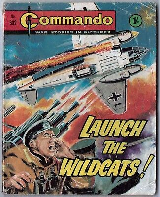 """Dated 1968. Vintage COMMANDO War Picture Comic # 332. """"Launch the Wildcats!"""""""