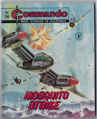 """Dated 1967. Vintage COMMANDO War Picture Comic # 290. """"Mosquito Strike"""""""