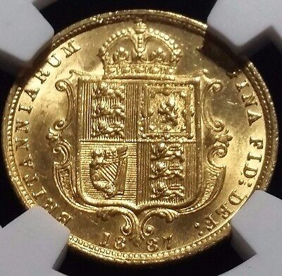 1887 Gold Half Sovereign Shield Back Victoria Jubilee Ngc Ms 62 Great Britain