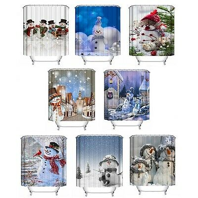 Christmas Snowman Waterproof Bathroom Fabric Shower Curtain With 12 Hooks Xmas