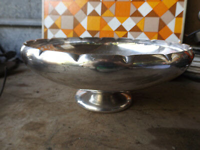 ANTIQUE Vintage Silver Plate on Copper Pretty  Bowl footed