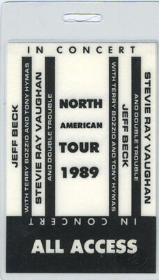 STEVIE Ray VAUGHAN Jeff BECK 1989 Laminated Backstage Pass