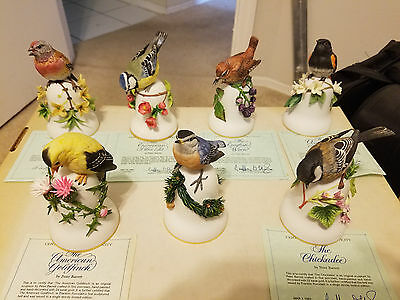 Lot Of 7 Porcelain Bird Bell Figurines - Franklin Mint Designed by Peter Barrett