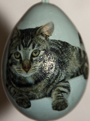 gourd Mother's Day, yard art or Christmas ornament with tabby cat