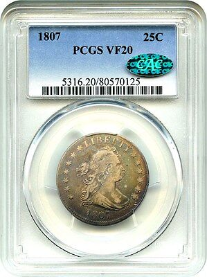 1807 25c PCGS/CAC VF20 - Pretty Early Bust Quarter - Bust Quarter