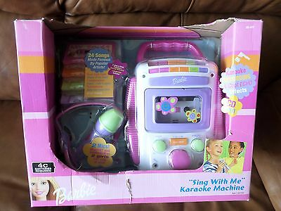 Barbie Sing with Me Karaoke Machine includes mic cassette tape and CD input NEW
