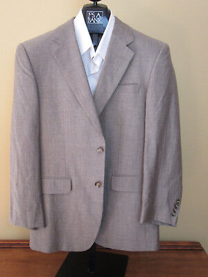 $495 new Jos A Bank Executive 100% wool 2 button tan check pattern jacket 40 R