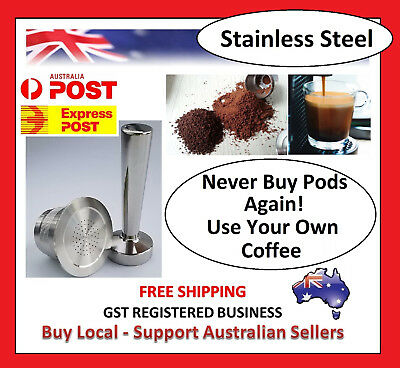 For Nespresso Steel Refillable Reusable Coffee Tea Capsules Pods Machine Tamper