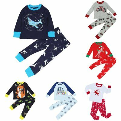 Boys Toddler Kids Cartoon 2pcs Outfits Set Pajamas Sleepwear Pyjamas Nightwear
