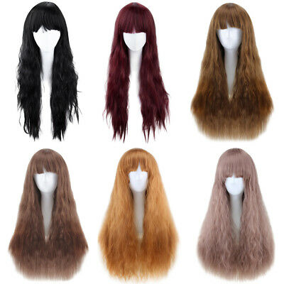 Women Fashion Full Bangs Long Half Curly Hair Wig Heat Resistant Synthetic Wigs