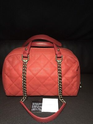 CHANEL CC RED Soft Caviar Quilted Leather Shoulder Chain Bowling Boston Tote Bag