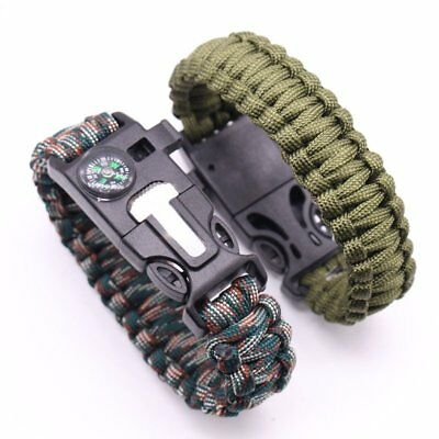 Fire Starter Survival Paracord Bracelet Whistle Compass 5in1 Gear Tool Kit CU