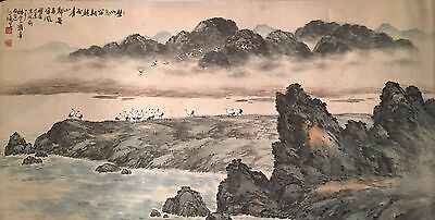 Large Horizontal Landscape With Cranes by Baekpo