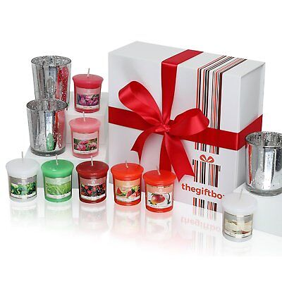 Luxurious Scented Candles Gift Set by The Gift Box. Comprises 8 Different and 3