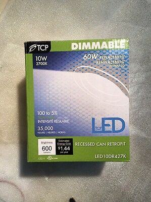 "LED10DR427K 4"" LED Recessed Can Light Retrofit Kit Dimmable 10W 2700K"