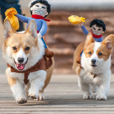 IT- Pet Dog Novelty Riding Horse Cowboy Outfit Halloween XMAS Party Costume Eyef