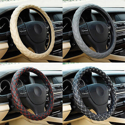 IT- Fashion Breathable Faux Leather Car Steering Wheel Cover Protect Sleeve Eage