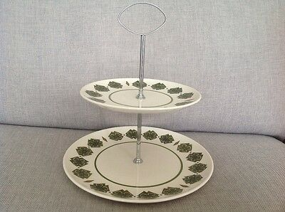 """Palissy Two Tier Cake Stand the """"Richmond""""design with green and brown decoration"""