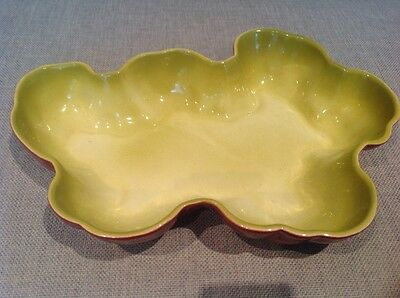Los Angeles Potteries ceramic serving dish in green and pink made in 1951