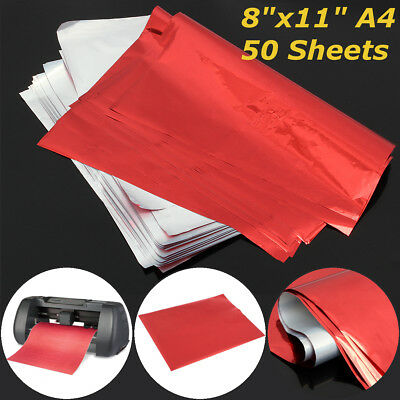 50 Sheets A4  Red Transfer Heat Foil Paper For Laser Printer Hot Laminator 8x11""