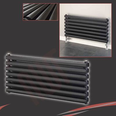 "1000mm(w) x 500mm(h) ""Brecon"" Black DOUBLE Oval Tube Horizontal Radiator 4405btu"