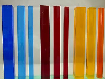 Square Tinted Colour Acrylic Rod Extruded Perspex Bar Blue Red & Orange / Amber