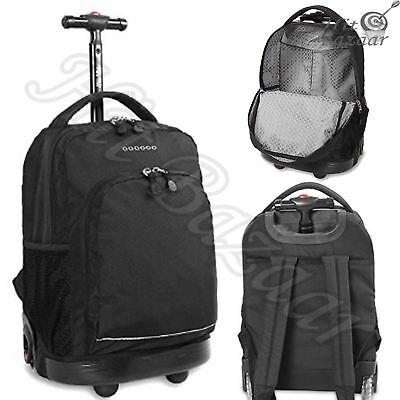 ROLLING BACKPACK LUGGAGE Wheeled Carry On Bag Trolley Travel Casual Daypack Blac