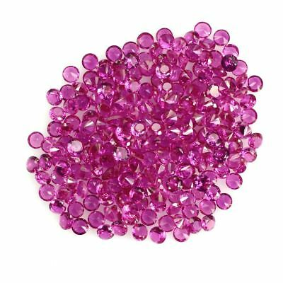 10 PIECES OF 2mm ROUND-FACET HYDROTHERMAL HOT-RED RUBY GEMSTONES