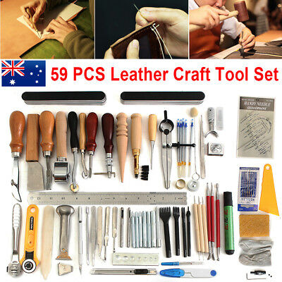 AU 59Pcs Leather Craft Hand Sewing Tool Kit Set Groover Beveler Punch Cutter
