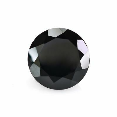 A PAIR OF 6mm ROUND-FACET JET-BLACK NATURAL AFRICAN ONYX GEMSTONES