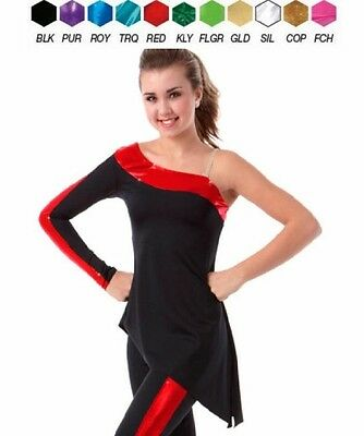 Sidelines Dance Costume TUNIC TOP Black with Color Trim Clearance Child & Adults
